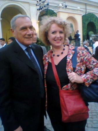 Claudia Curci con il presidente del Senato  Grasso